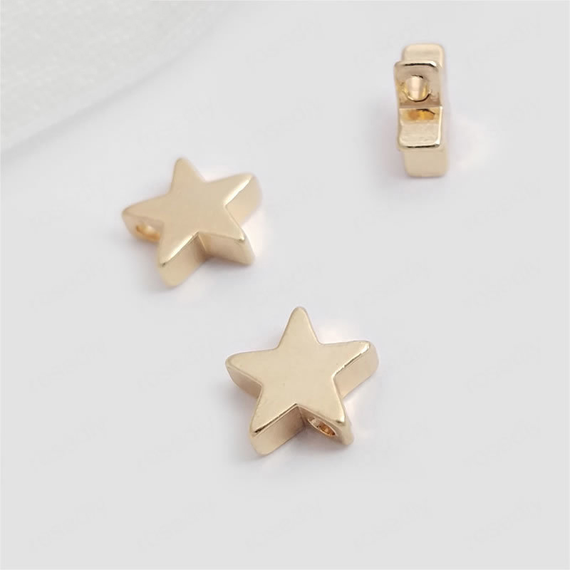 20PCS 5MM 8MM 24K Champagne Gold Color Plated Brass Small Star Charms Pendants Diy Jewelry Findings Accessories wholesale
