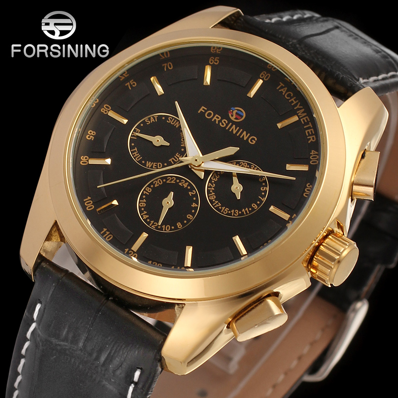 FORSINING FSG6625M3G1 new Automatic fashion dress Men watch tourbillon gold wristwatch for men best gift free shipping цена