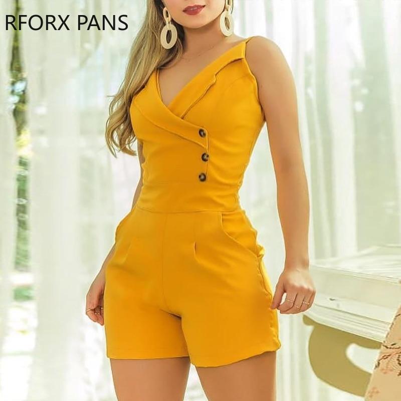 Solid Spaghetti Strap Buttoned Romper