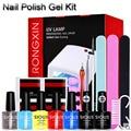 Free Shipping Soak off Nail Polish Gel Kit 36W UV Nail Lamp French Manicure Nails Base Top Coat Nail Art File Buffer Brush Tools