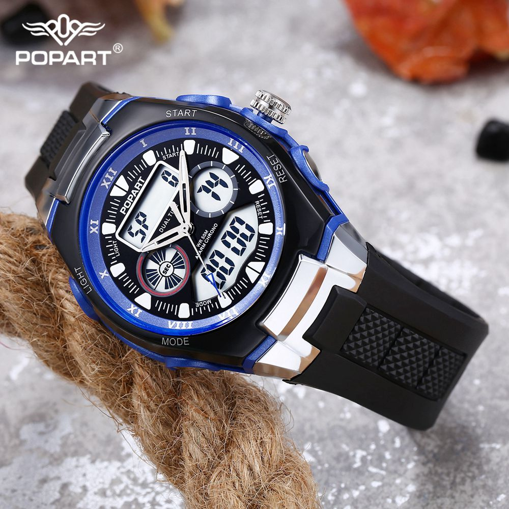POPART Men's Watches LED Digital Watch Quartz Wristwatches Male Fashion Watch 2018 Outdoor Sport Watches For Men Women Clock Man qi wireless universal charger mobile smart night light 10w