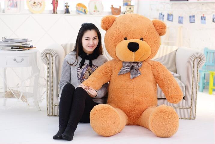 Голяма плюшена мечка кафяво 220см супер гигант играчка огромни големи плюшени играчки деца меки деца деца бебе кукла големи пълнени животни подарък