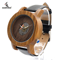 BOBO BIRD K09 Green Sandalwood Watch Men Quartz-watch 47.5mm Size Movement Exposed Wooden Wristwatch in Gift Box
