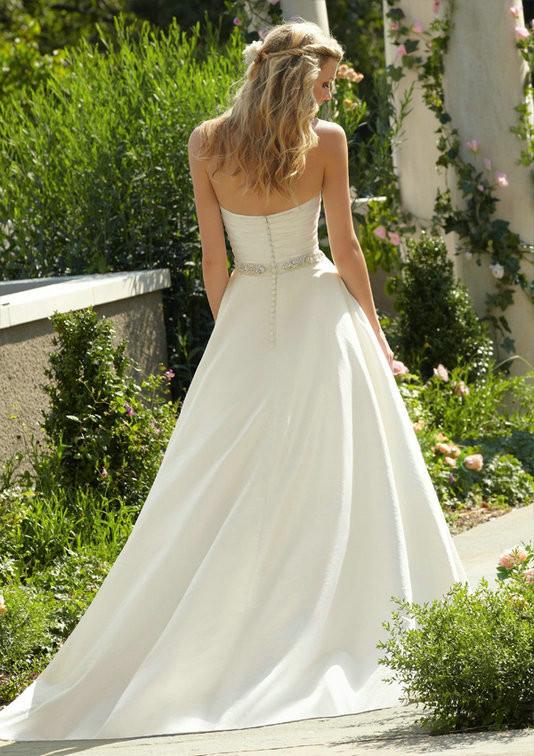 2017 Simple Beaded Wedding Dress Elegant Cour Train Sweetheart Silk Taffeta Bridal Gown Custom Made For Womens Vestidos De Novia 2
