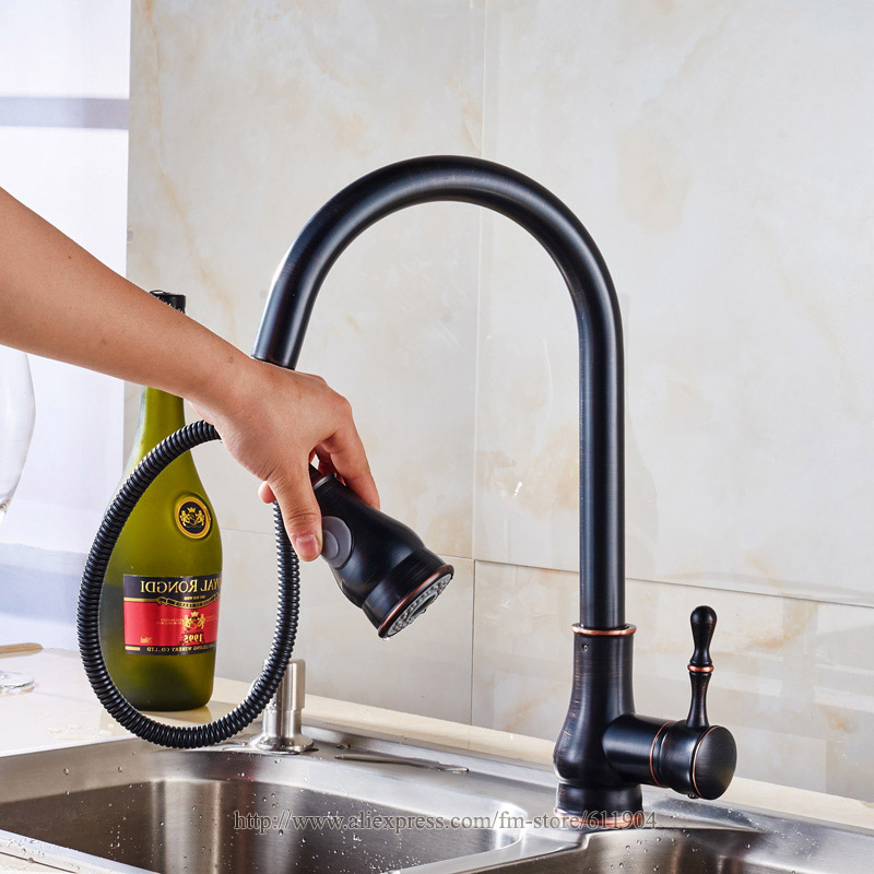 Oil Rubbed Bronze Pull Out Spray Head Kitchen Faucet Mixer