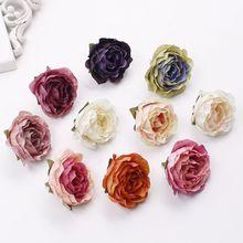 10 Uds 5cm cabezas de flores rosas Vintage flores artificiales de seda para la decoración de la boda DIY guirnalda decorativa flores falsas flores