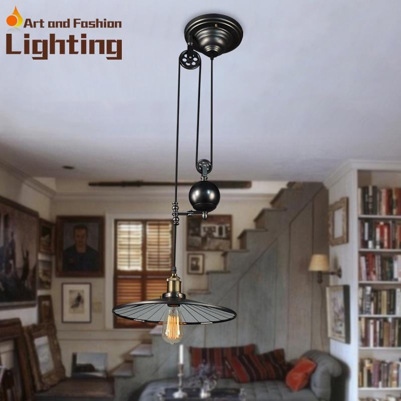 ФОТО Retro pulley pendant light European style restaurant light industrial light
