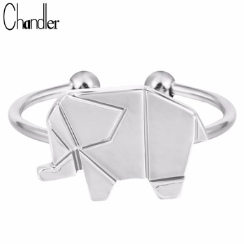 Wholesale Silver Gold Plate Cute Elephant Pattern Rings Animal Adjustable Fashion Jewelry  Simple Handmade Anel Aneis For Women