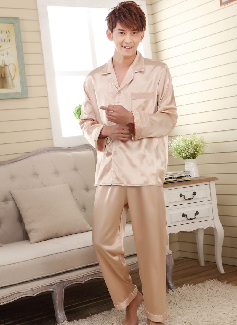 Faux Silk Men Sleepwear Mens Pajamas Men's Sleep & Lounge Male Pajama Sets Satin Men Pyjamas Men Nightgown Chinese Silk Pajamas