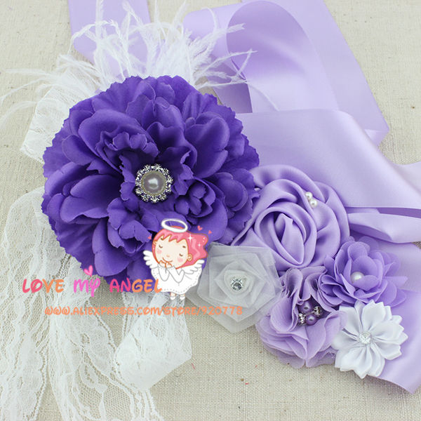 Flower Belts For Wedding Dresses: Purple Sash Belt Flower Sash Peony Flower Belt Feather