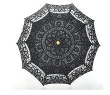 2pcs/lot Lace ivory/white Parasol Umbrella for wedding Bridal full batten Belgian H108