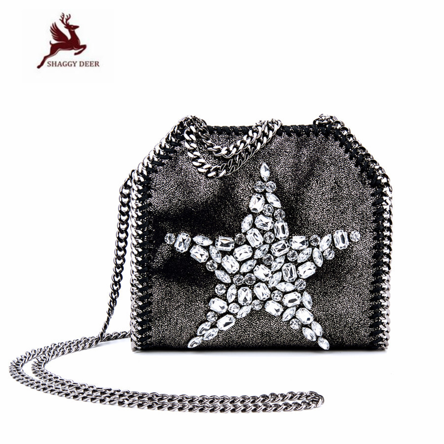 Shaggy Deer NEW Shiny Rhinestones PVC Fold-Over Mini Chain Bag Falabellas Cute Lady Leisure High Quality Bag mini gray shaggy deer pvc quilted chain bag with cover real picture