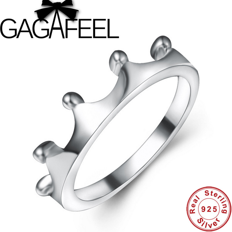 GAGAFEEL Beautiful Crown Ring For Girl Brand New Real Pure 925 ...