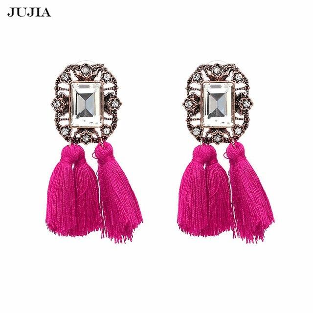 Nuevo 2019 joyería de moda de la venta caliente de las mujeres de cristal vintage borla babero declaración pendientes para la joyería de las mujeres