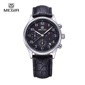 Image 2 - Megir fashion leather quartz watch man luxury waterproof chronograph sport wristwatch men relogios masculinos 5007 free shipping