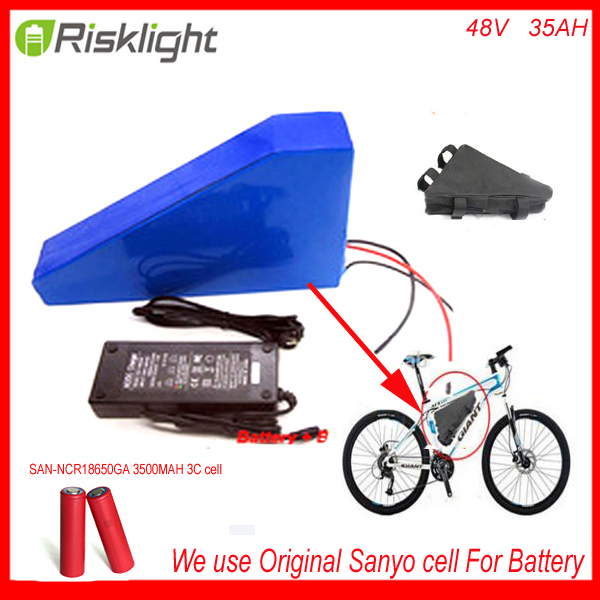 New arriver triangle ebike battery 48V 2000w lithium battery pack 48v 35ah electric bike battery +bag+charger For Sanyo CELL 48v 34ah triangle lithium battery 48v ebike battery 48v 1000w li ion battery pack for electric bicycle for lg 18650 cell