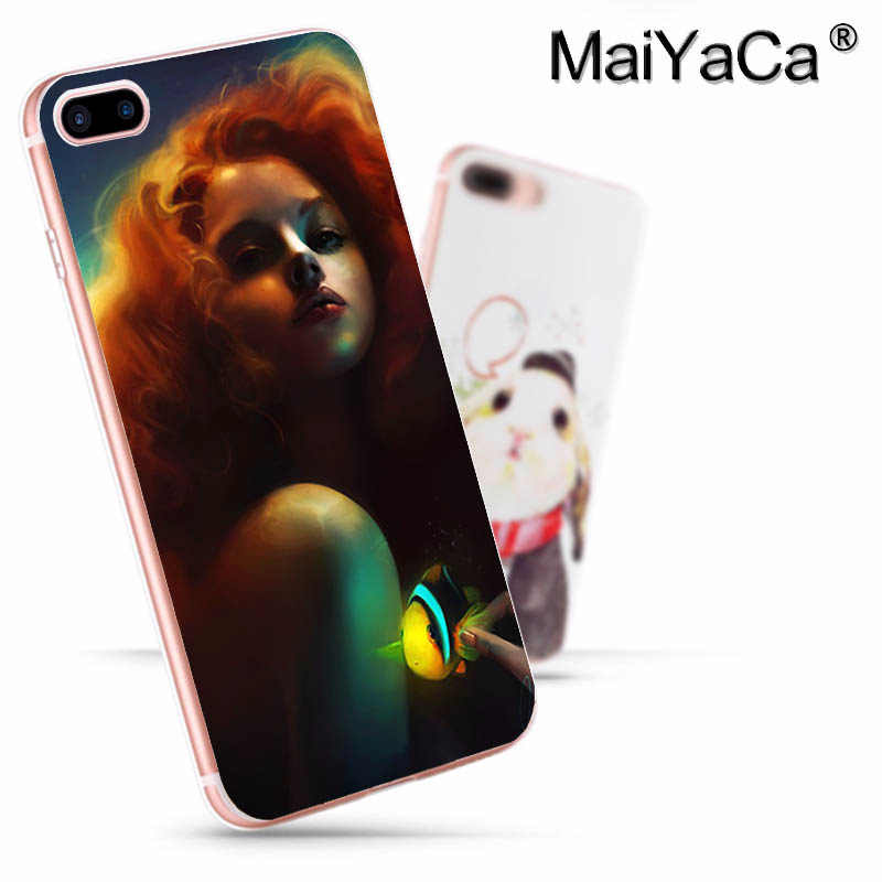 MaiYaCa プリンセスアリエルリトルマーメイド半透明プラスチック製のハード電話ケースカバー iphone SE XS XR 6S 8 8 プラス 7 7 プラス X