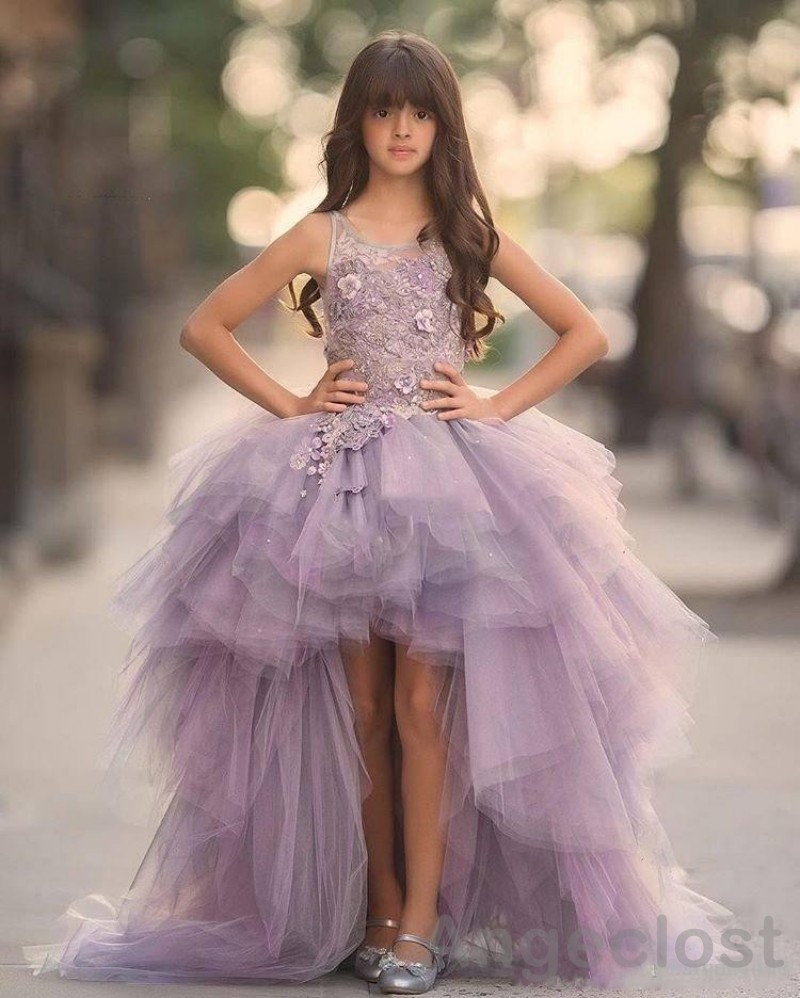 2017 Girls Pageant Dresses Hi-Lo Lace Appliques Purple Ball Gown Spaghetti Straps First Communion Dress For Girls Elegant Tulle