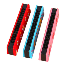 Musical Toys 16 Holes Harmonica Wooden Harp Woodwind Music Instrument Educational Funny Toys For Children Kids Baby