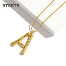 Big Letter Necklace Pendant in A Z Fashion Gold Necklace For Women Dubai Link Chain Metal Necklaces& Pendants Jewelry(China)