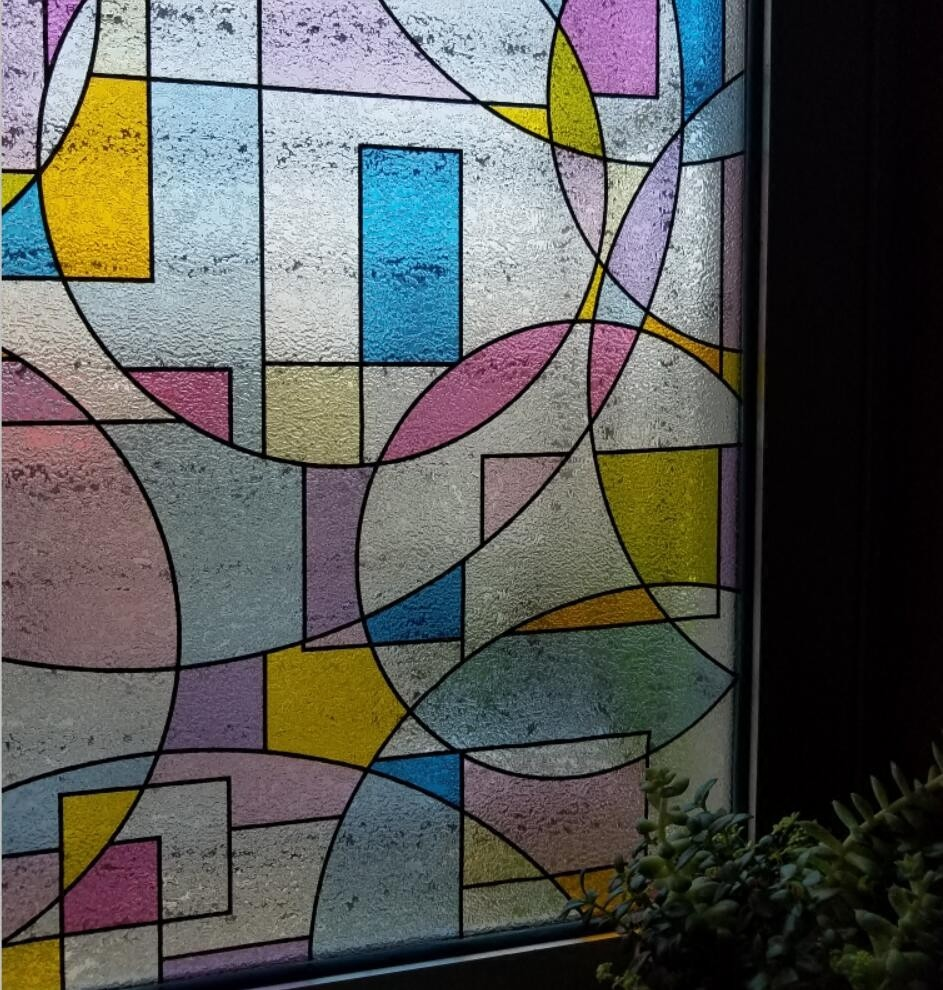 Static cling removable crystal window film stained glass for Decorative stained glass windows