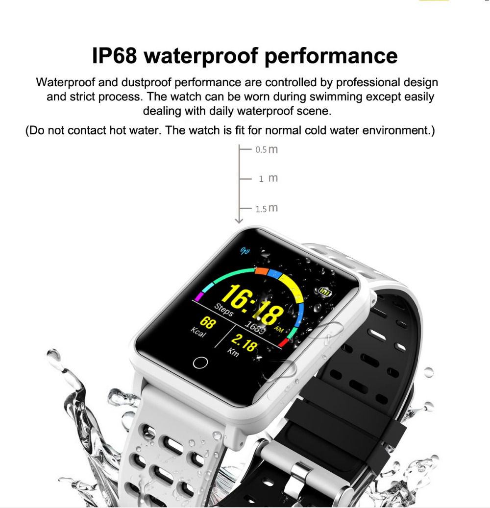Color Smart Watch W4 Waterproof Bracelet Wristband Fitness Tracker Blood Pressure Heart Rate Smartband for Android IOS Xiaomi LG