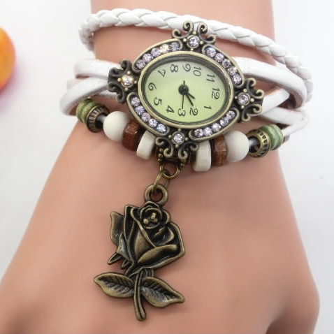 Bohemian Charm With Crystals Antique Rose Bracelet