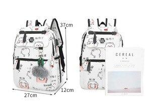 Image 2 - Haute qualité toile sacs décole pour filles cartable mode impression sac à dos pour dames sacs à dos mochilas sac à dos