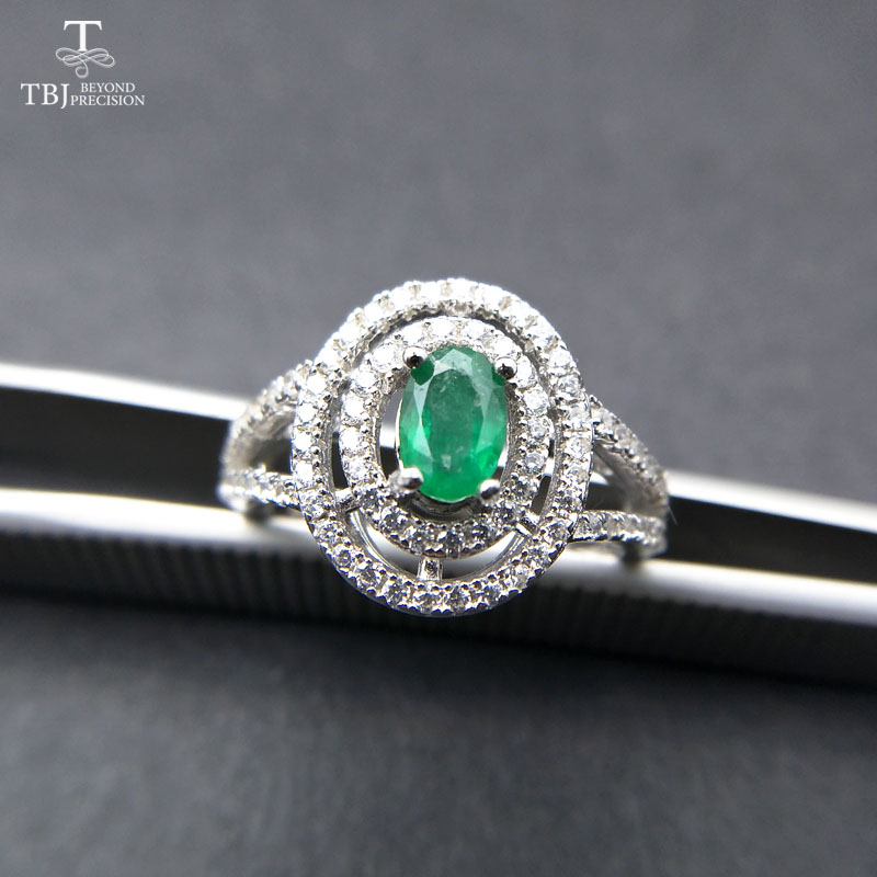TBJ 100 natural emerald ring in 925 sterling silver with gift box elegant dianna rings with