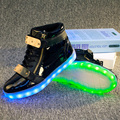 2016 Amantes Zapatos Luminosos Led Con Luz Unisex de Los Hombres brillante Destello Ocasional Zapatos Pareja PU de Carga Usb Luz de Led zapatos