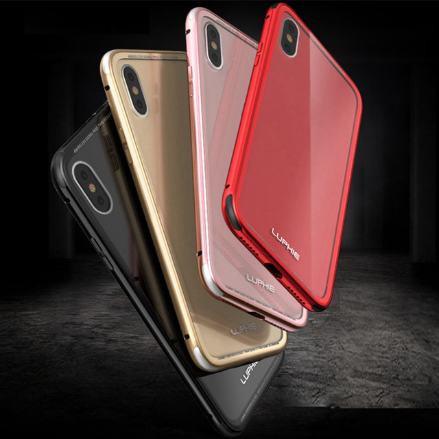 Luphie Aluminum Bumper Frame For Apple iPhone X Cases Toughened Back Glass Cover Case Cover For iPhoneX Sleeve Funda Shell