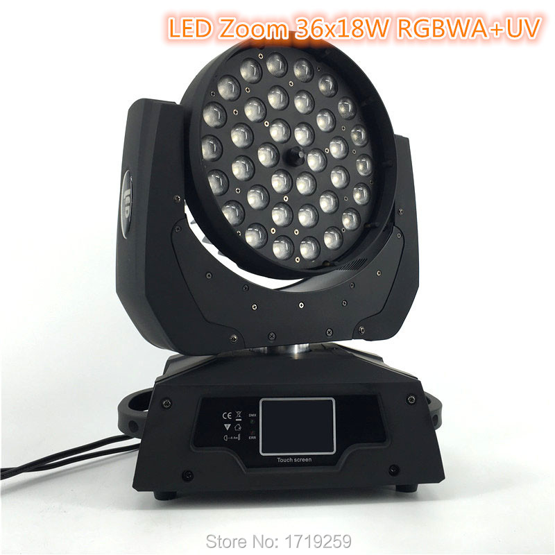2 pcs/lot LED Zoom Wash 36x18W RGBWA+UV Color DMX Stage Touch Screen,LED Moving Head Wash Light Good for DJ пижама раздельная