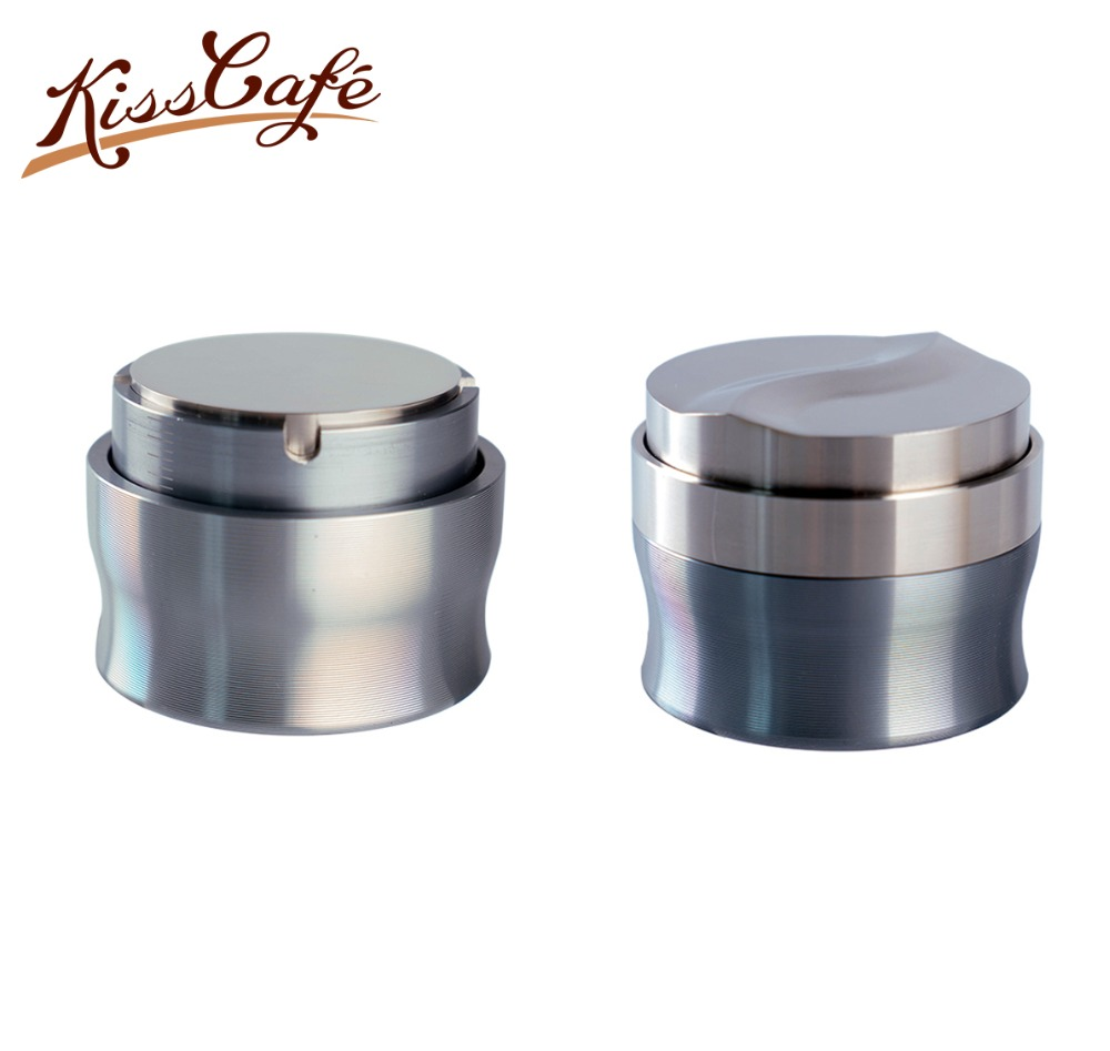 58mm Coffee Tamper Coffee Powder Hammer Flat Base Adjustable 304 Stainless Steel Customized Coffee Accessories