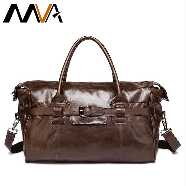Homens de couro genuíno saco de viagem dos homens saco de homem de couro bolsa de ombro multifuncional bagagem de viagem duffle sacos homem da mala bolsa mva
