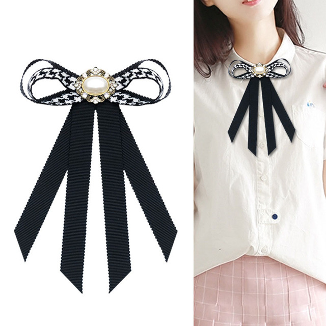 i-Remiel Korean Fashion Bow Knot Houndstooth Bow Tie Brooch Pin Flower  Crystal Pearl Brooches 98d6ea369d9a