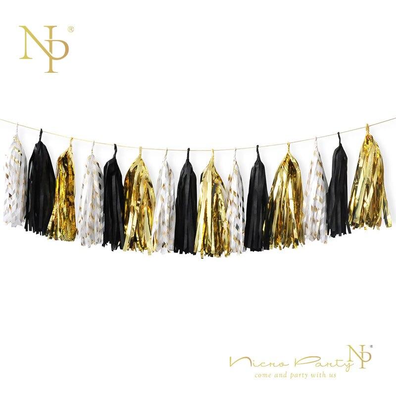 Nicro New Year Graduation Decor 15pcs/lot Black Champagne Gold Tissue Tassel DIY Party Garland Tassel Party Decor Supplies .