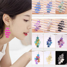 High Quality 1Pair Allergy Free Free Shipping Gifts Fashion Violet Blue color Bohemian Jewelry Drop Flower Earring Graceful(China)