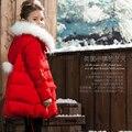 Moda Meninas Crianças Casaco de Inverno Casacos de Pato Para Baixo Parkas Crianças Roupas de Inverno Outerwear Engrossar Quente adolescente Roupas Meninas