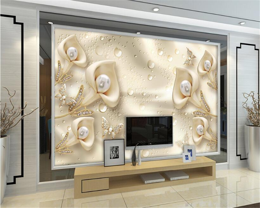 Beibehang Custom Wallpaper Living Room Bedroom Mural 3d Calla Leaf Butterfly Silk Water Reflection Video Background