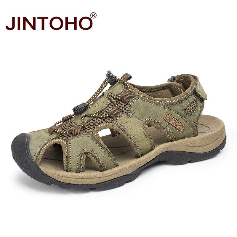100% QualitäT Jintoho Hohe Qualität Männer Echtes Leder Sandalen Mode Strand Leder Sandalen Atmungsaktiv Männlichen Sandalen Sommer Männer Strand Schuhe
