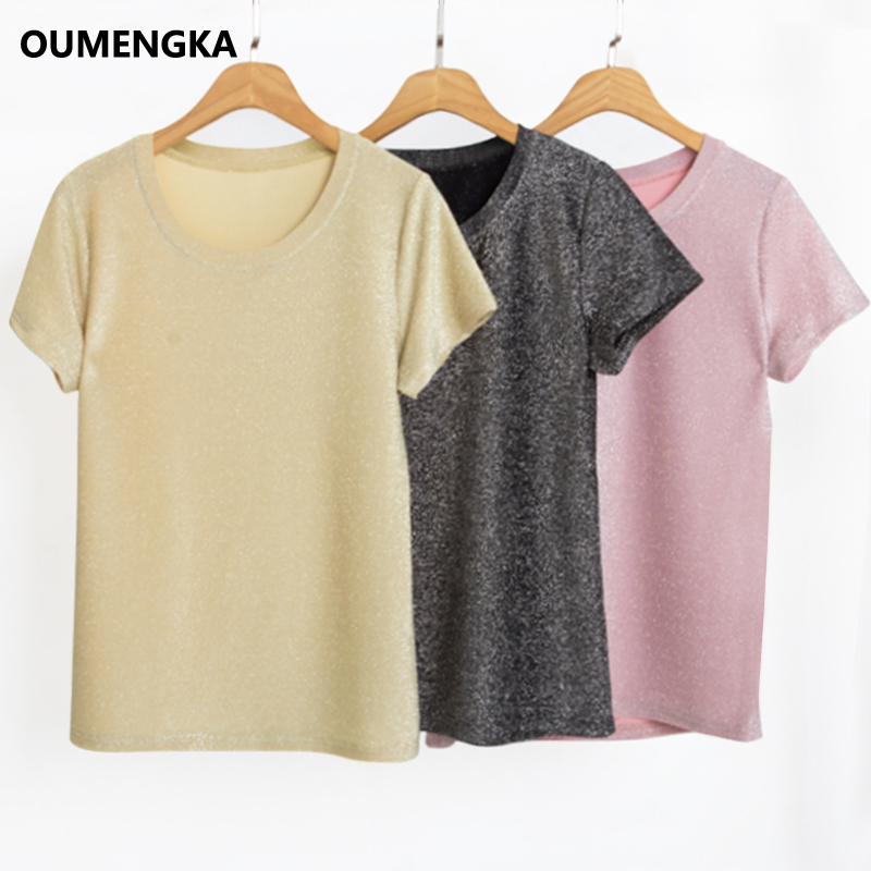 2020 New Summer T Shirt Silver Shiny Lurex Women Casual Solid Short Sleeves Tops O-Neck Female Breathable Elasticity Tee S-3XL
