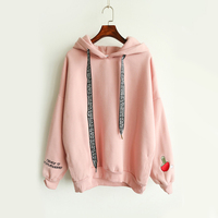 Autumn Winter New Casual Cashmere Women Hoodies Cute Pattern Embroidered Letter Drawstring Harajuku Street Thick Sweet