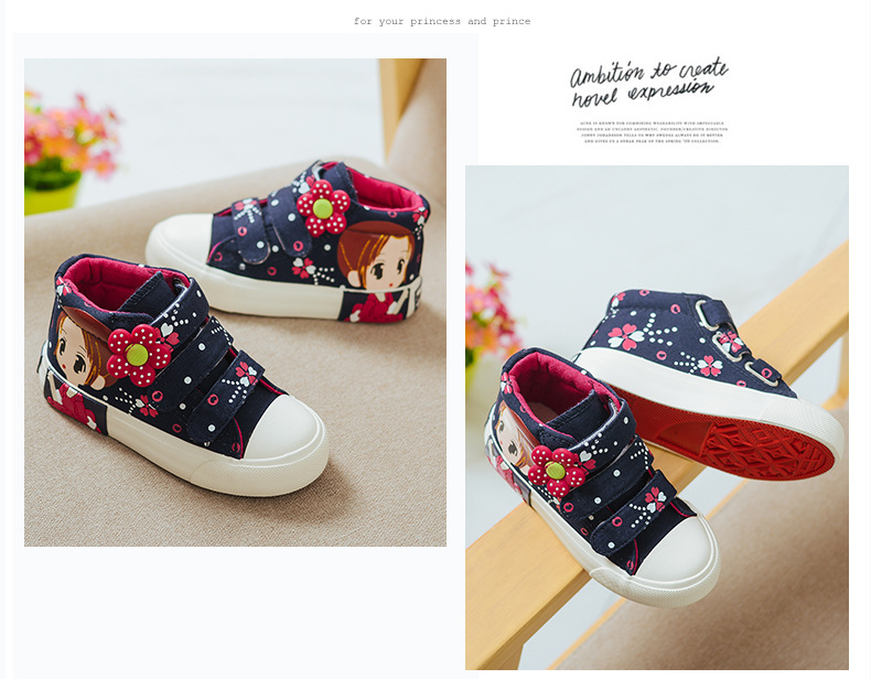 19 Spring Autumn Children Canvas Shoes Girls Fashion Sneakers 3 Colors High Baby Casual Shoes Breathable Princess Shoes 9