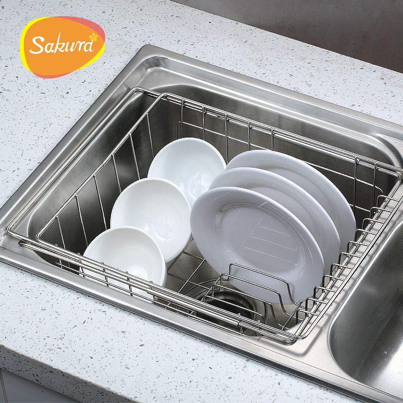 Sakura Bowl Rack Shelf Retractable Sink Drain Basket Sink