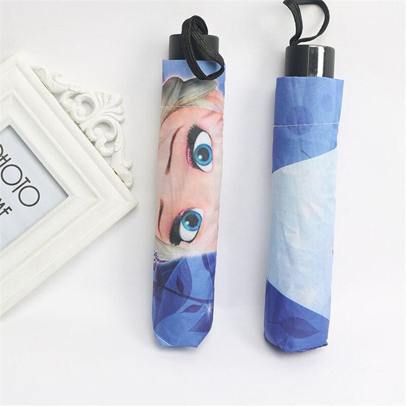 Купить с кэшбэком Disney Cartoon Frozen Elsa Anna Mickey Mouse Umbrella Dual-use Three-fold Umbrella Student kids Boys girls umbrellas child gifts