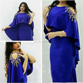 Dubal Kaftans Modest Royal Blue Long Evening Dresses With Cape Crystal Beaded Celebrity Evening Gowns Mermaid Formal Dresses