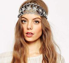 Fashion Women's Headwears Gorgeous Diamond Lace Bandanas Wedding Party Hair Accessories Gum Bandage Headbands for Pretty Women