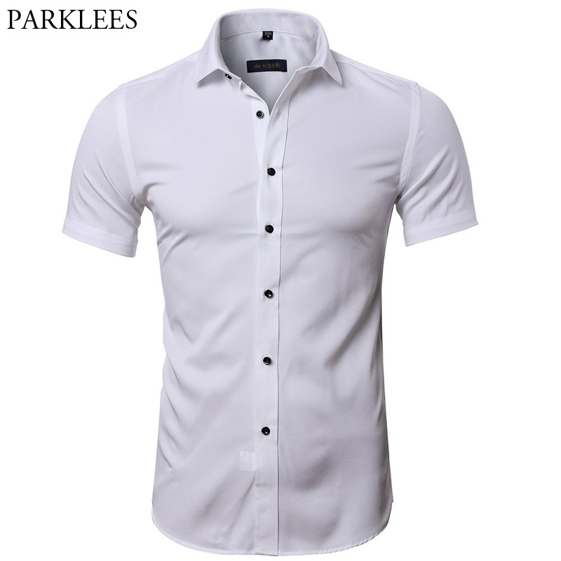Men's Hipster Elastic Bamboo Fiber Business Shirts 2018 Summer New Slim Short Sleeve Shirt Men Casual Brand White Dress Shirts-in Casual Shirts from Men's Clothing on AliExpress - 11.11_Double 11_Singles' Day 1