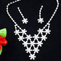 Copper Bridal Wedding Jewelry Fashion Bridal Accessories Necklace Earring Wedding Starry Sky Jewelry Sets Crystal Necklace