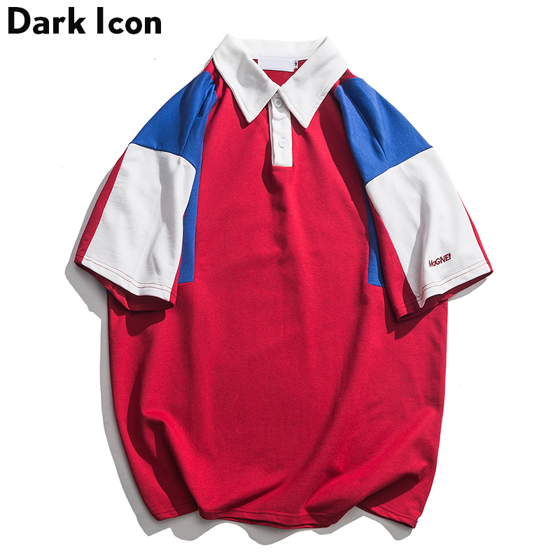 Dark Icon Letter Embroidery Patchwork   Polo   Shirt Men Short Sleeve Oversized Men's Shirt Terry Material Cotton   Polo   Shirts Man